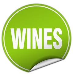 Wines round green sticker isolated on white vector