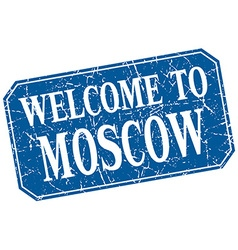 Welcome to moscow blue square grunge stamp vector