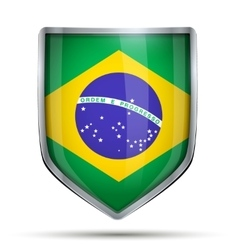 Shield with flag brazil vector