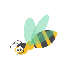 Adorable wasp with striped body and transparent vector