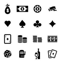 black casino icon set vector image vector image
