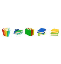 Book group icon set cartoon style vector