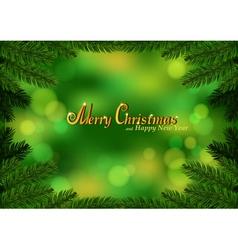 Christmas fir frame green background vector