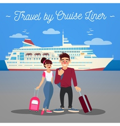 Cruise Liner Travel Cruise Liner Passenger Ship vector image