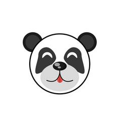 Cute face panda animal cheerful vector