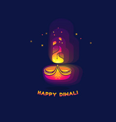 Diwali lamp bright colorful sign isolated on dark vector