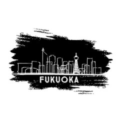 fukuoka japan skyline silhouette hand drawn sketch vector image