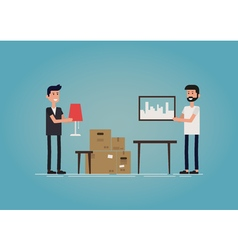 Gay couple moving to a new house vector