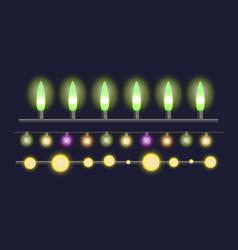 glowing christmas garland light bulbs for xmas vector image
