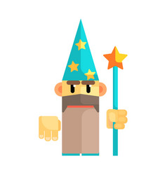 gnome wizard in blue hat with stars and staff in vector image