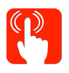 Hand with pointed finger and signal wifi signal vector