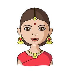 hindu womanhuman race single icon in cartoon vector image