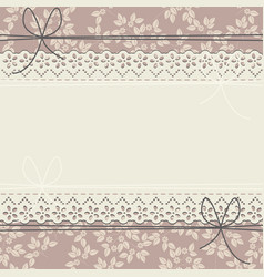 horizontal lace frame with flowers and bows vector image