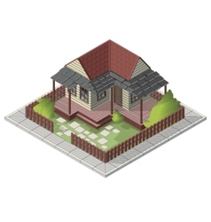 Isometric summer house backyard building vector