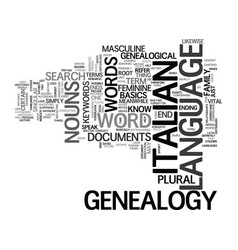 Italian genealogy text background word cloud vector