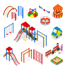 Kids playground elements set isometric view vector