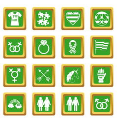 Lgbt icons set green vector