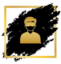 Man with sleeping mask sign golden icon vector