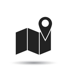 Map with pin icon flat location sign symbol with vector
