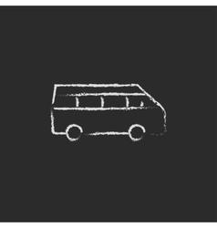 Minibus icon drawn in chalk vector image