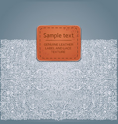 Ornate background with leather label vector