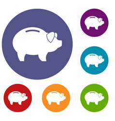 piggy icons set vector image vector image