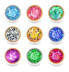 Round shape top view bezel colored gems vector image