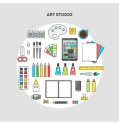 Set of flat icons for design art studio vector image vector image