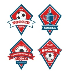 Soccer logo templates collection isolated white vector