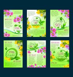 Spring season sale poster discount flyer template vector
