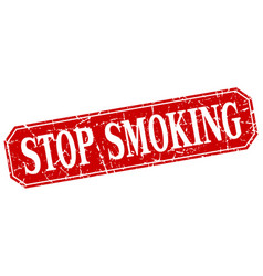 Stop smoking red square vintage grunge isolated vector