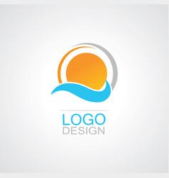 sun shine wave logo vector image