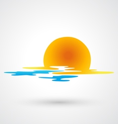 Sunset and sea waves icon vector