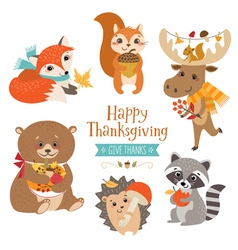 Thanksgiving cute forest animals vector