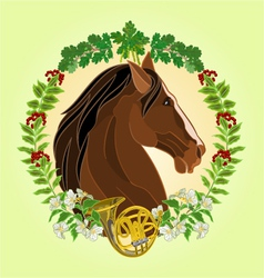 The head dark brown Horse leaves and french horn vector image vector image