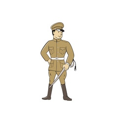 World war one british officer sword standing vector