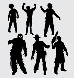 Zombie male and female walking silhouette vector