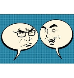 Two men joyful and angry Comic bubble smiley face vector image