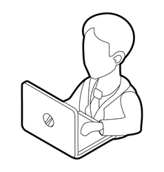 Businessman using his laptop icon outline style vector