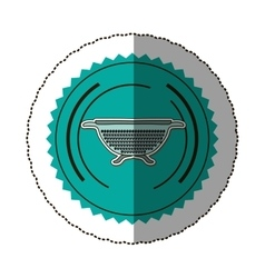 sticker color round frame with kitchen drainer vector image