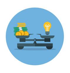 Comparison of money value and idea business vector