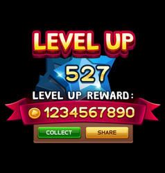 Level up screen for slot game vector