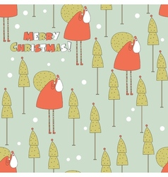 Santa in the forest christmas seamless pattern vector