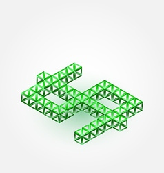 3D Dollar Sign made with triangles - green vector image