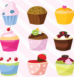 Sweet cupcakes collection vector
