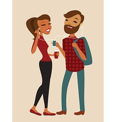 Hipster couple vector