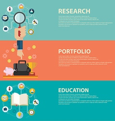 Online education and business portfolio banners vector