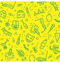 Green carnival symbols in doodle style on yellow vector