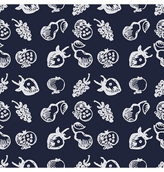 Fruits pattern with strawberries pomegranates pear vector