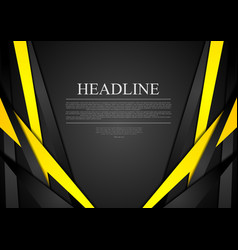 Black and yellow corporate tech striped vector image